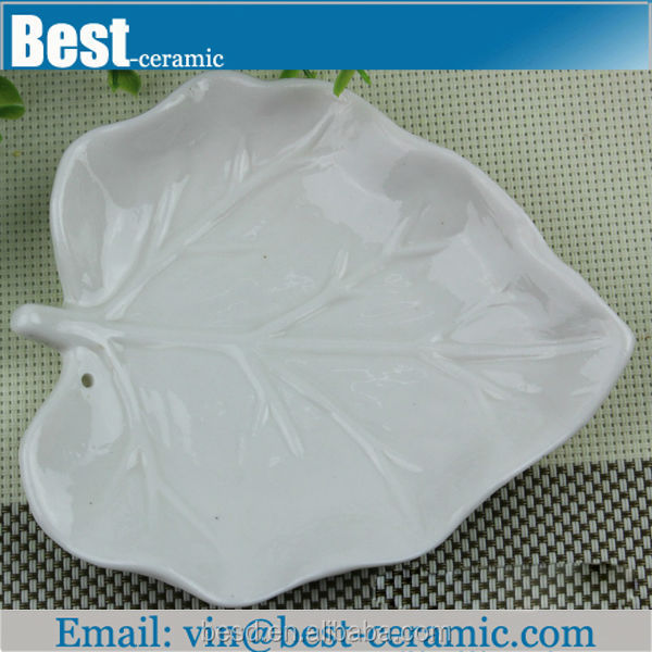 leaf shape white handmade ceramic plates