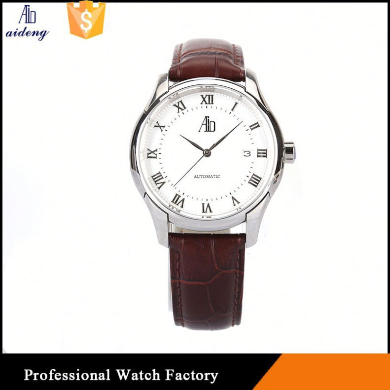 Man Gold Mechanical Wrist Watch Full Stainless Steel Back Watches Men