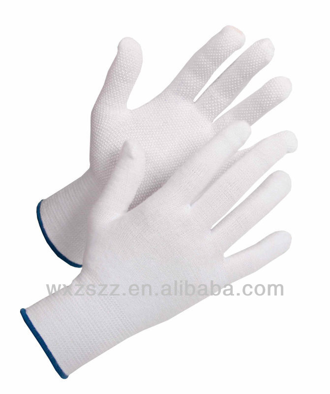 95% cotton and 5% lycra knitted glove with mini pvc dots on palm With Great Low Price
