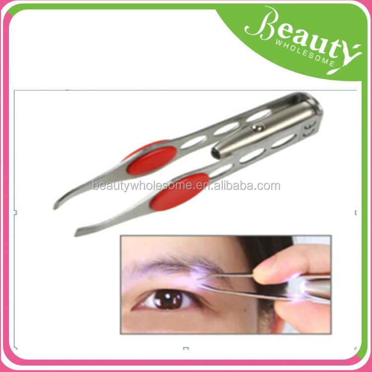 tweezer with led light SY096 stainless steel eyerbow tweezer ,
