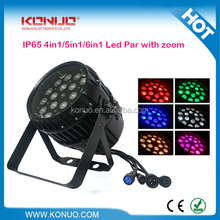 IP65 18x18W rgbawv 6-in-1 led par zoom stage light for outdoor