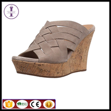Hot sell women leather platform weave casual shoes gray gladiator ladies sexy suede sandals
