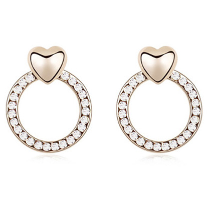 Circle Shape Earring Made of Crystal And <strong>Alloy</strong>, Suitable For Girls, 5 Colors Available