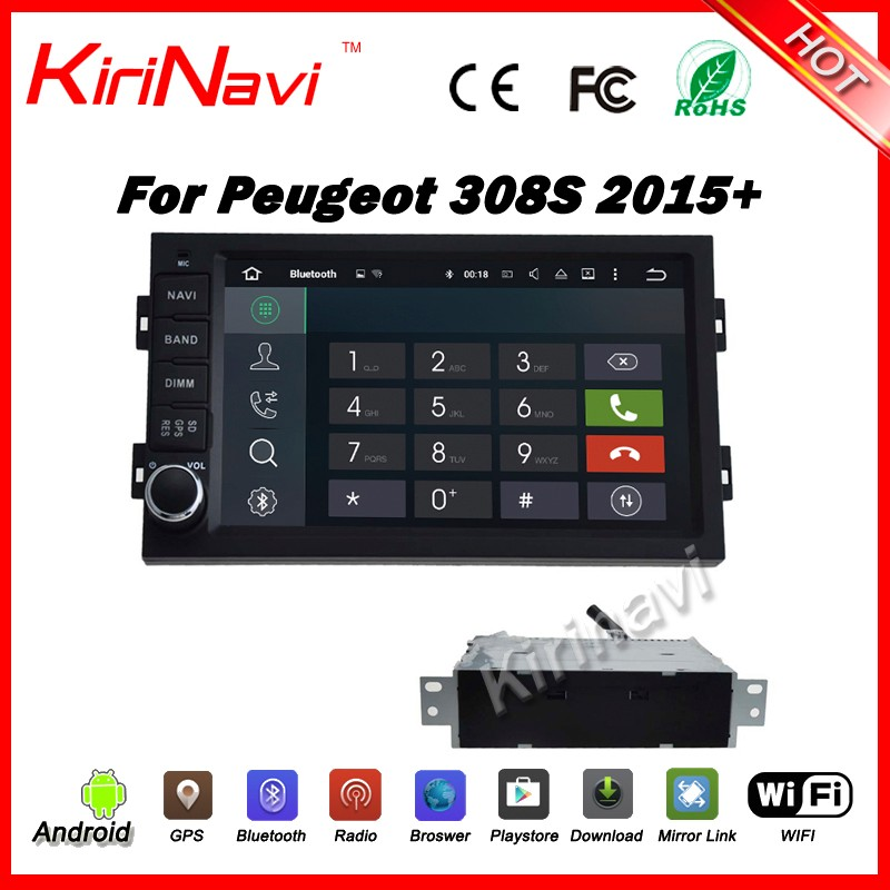 Kirinavi WC-PT7308S android 5.1 car navigation dvd for peugeot 308s 2015 2016 car gps multimedia system touch screen player