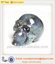 Natural and good quality labradorite gem stone carving skull, colorful skull heads,rock crystal skull carving