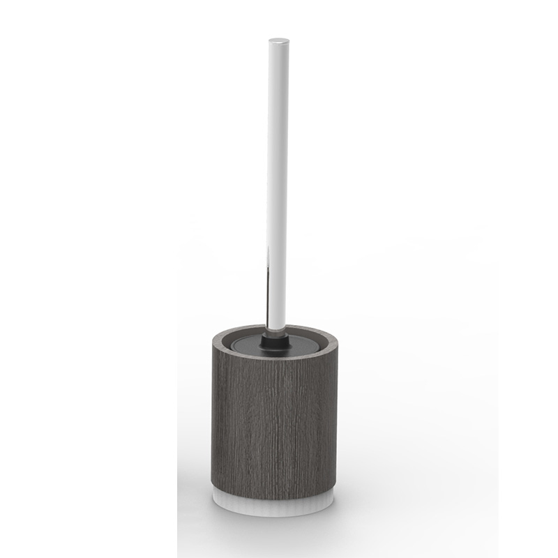 Utility Cylindrical Black And Poly Stainless Steel Handle Toilet Brush Stand