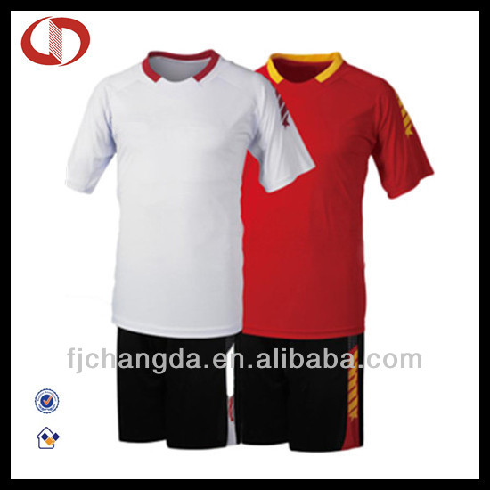 2014 black and white soccer jersey made in china