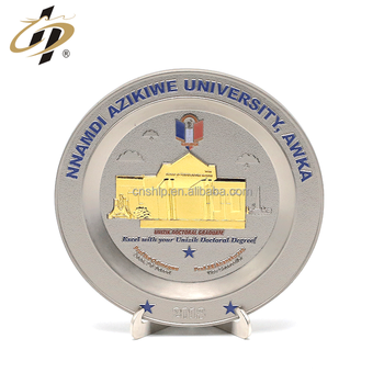 Custom zinc alloy 3D gold silver dual plate metal souvenir plate for military