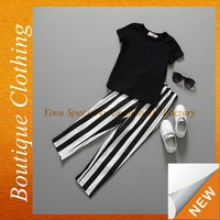 Fashion summer boutique baby outfits black and white strip shirt and pants children boutique outfits SPSY-710