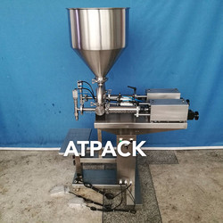 Atpack high-accuracy semi-automatic double nozzles Crunchy Peanut Butter filling machine with CE GMP
