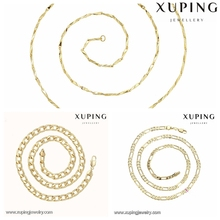 Free Sample 43531 Xuping brands dubai imitation fashion jewelry, 14K gold plated long chains women's jewelry necklace