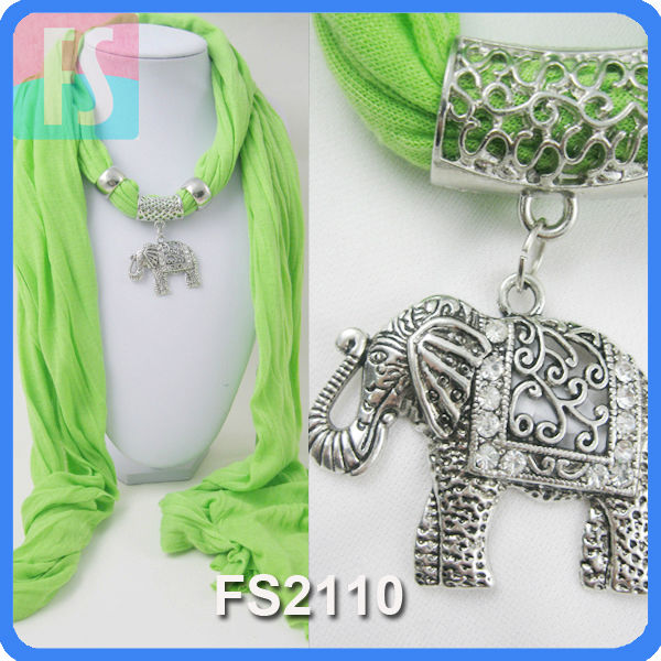 new jewel scarves with alloy elephant pendant
