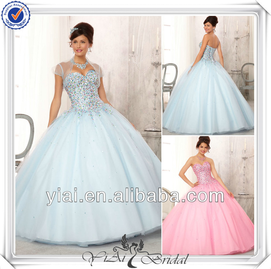 QQ425 Custom made ball gown beaded bodice quinceanera dresses little girls