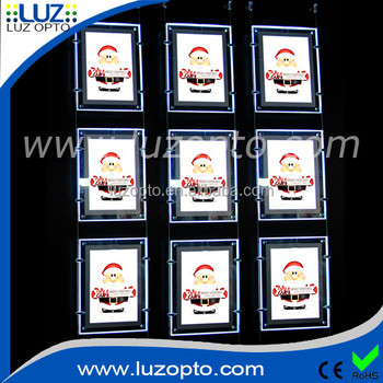 double sided or single sided picture frame strip for acrylic window display,a0 window led light pockets