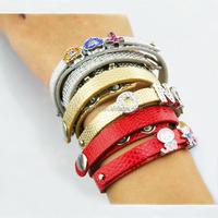 Slide charm bracelet, 8mm diy charm leather bracelet factory jewelry