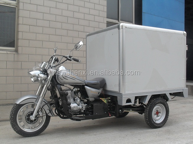 Big Power Chinese Cloesd Box Motorized 3 Wheel Cargo Tricycle Motorcycle For Sale