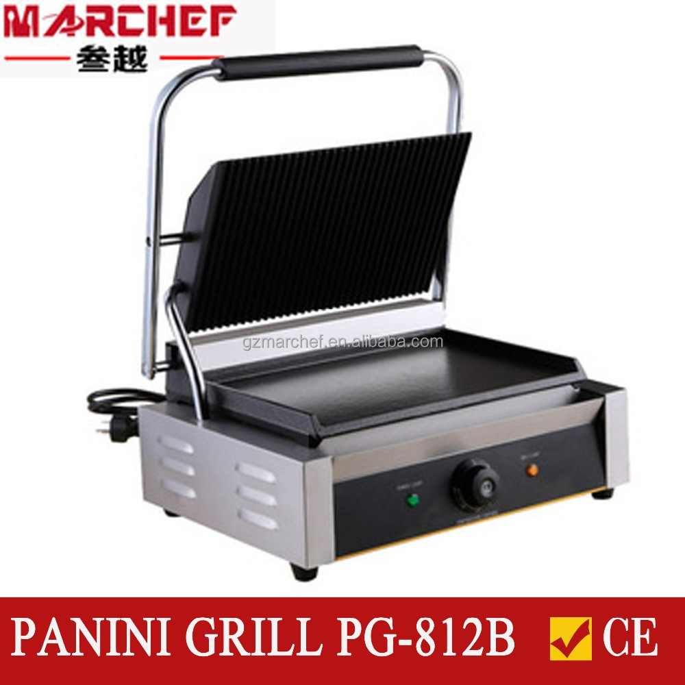 PG-812B Half Ribbed Half Flat hotplate commercial sandwich press machine/steak grill machine/panini maker