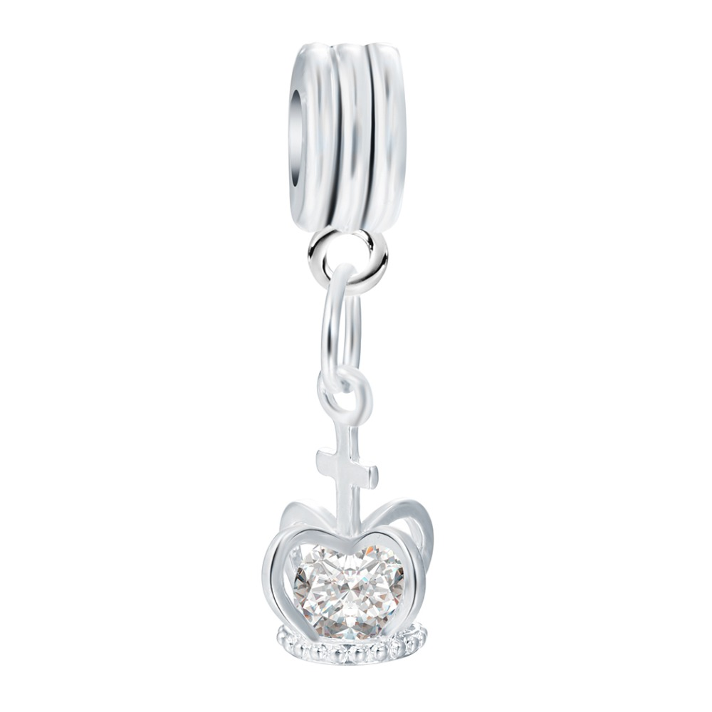 DIY Jewelry Charm Shining Crown Cubic Zircon Dangle Pendent Fit Women Snake Chain Bracelets & Necklace