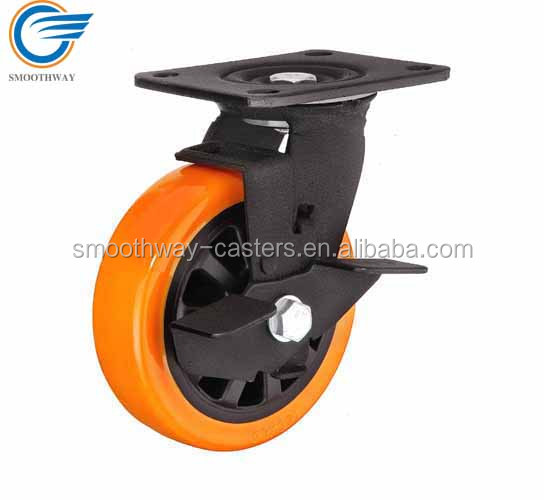 Top Plate Swivel PU Heavy Duty Caster Wheel With Brake 6203 Double Ball Bearing