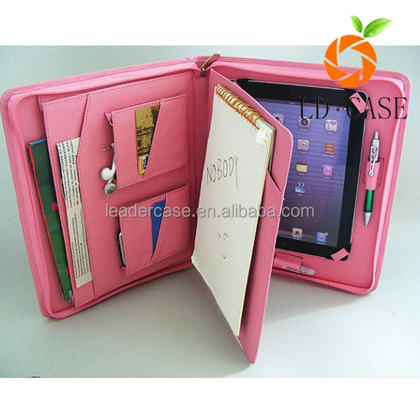New arrival notebook pen loops and phone pocket wallet filip leather case for Ipad mini case