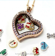 2016 Hot sale fashion 30MM Rose Gold curved heart necklace locket with CZ stones
