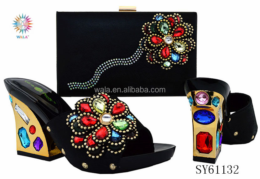 SY61132 beautiful italian style mid <strong>heel</strong> slipper and bag matching set with big flower stones