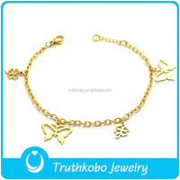 TKB-B0192 Exquisite magic lucky charm jewelry with four leaf clover butterfly pendants gold plated women bracelet