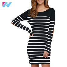 Stripes Stitching Long Sleeve Patch O-Neck fashion ladies Casual dresses