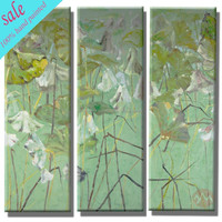 Wall art group hand painted lotus flower oil painting