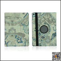 Rotating Retro Map Pattern Leather Smart Cover Stand Case for iPad 6, leather flip case