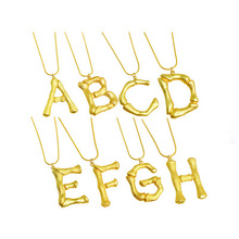 Matte Gold Tone Statement Bamboo Alphabet A-Z Pendant Necklace 18K Real Gold Plated Letter Z Initial Alphabet Necklace