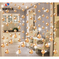 Feng Shui champaign gold hanging decorative crystal string beads for room divider