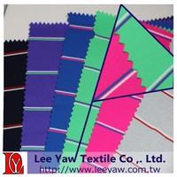 Permanent wicking, 92% polyester 8%spandex yarn dyed auto stripe jersey fabric