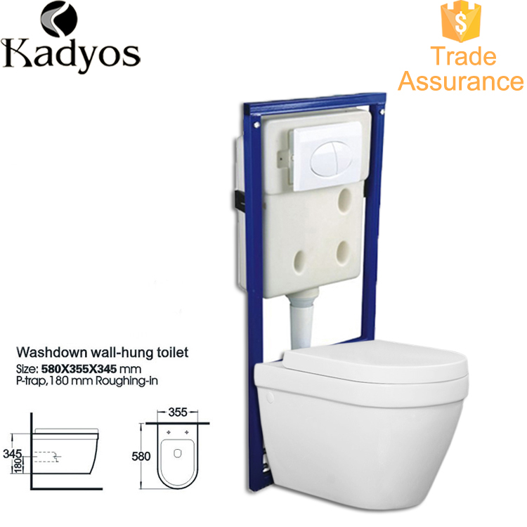 Bathroom Gravity Flushing Wc Toilet, Wall Mount Wc Toilet KD-07WT