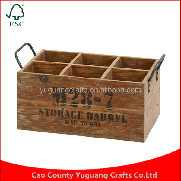 Custom Wooden 6 bottles Wine Shipping Beer Crates for Sale