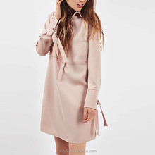 Anly apparel woman latest fashion formal tie cuff long sleeve design ladies pocket dress