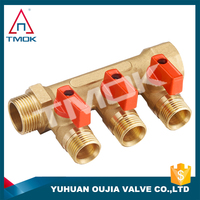 TMOK cast iron exhaust manifold and plastic handle with brass color turbo exhaust manifold and high quality