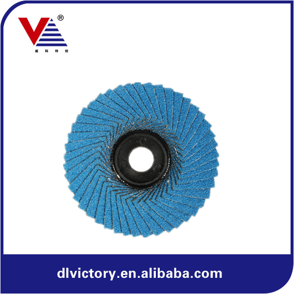 "Jumbo sanding paper 4""blue zirc Flower abrasive flap disc Plastic backing"