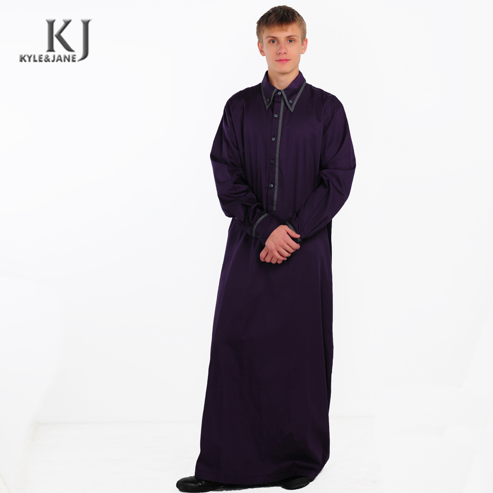 Latest Modern Apparel Shirt Design islamic Clothing Man arab Thobe with dark colors full-length Muslim Thobe For Man