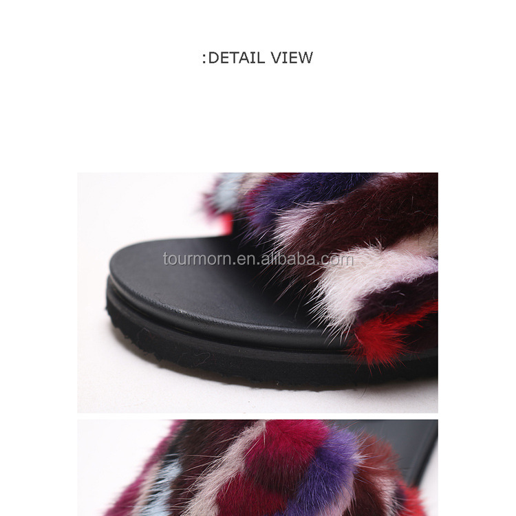 fox fur slipper rabit fur/mink fur girl sandle frozen slipper lobster