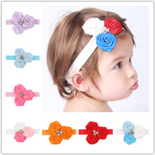 New Hot Fashion Elastic Headbands Rose Flower Crystal Baby Hair Accessories Baby Girl Children Hair Bands wh-1533