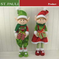 24inch tall girl boy elves red green velvet holiday decoration christmas fabric standing elf doll