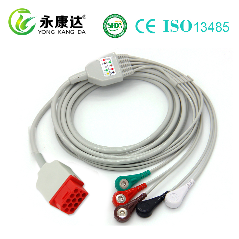 5 Leads Snap AHA Bionet 12 Pin One Piece ECG Cable for patient monitor