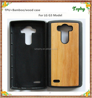 For LG G3 TPU+Bamboo Wooden Case , Fashion Design cherry Wooden cell phone Case for LG G3 Paypal Accepted