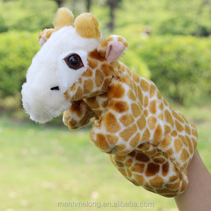 Giraffe Shape KidsToy Hand Puppet Hand Glove Puppet Finger Puppet Sack Hand Dolls Plush for Baby Child