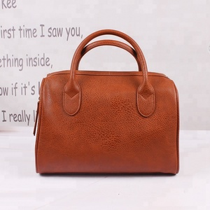Newest brown pu leather travel tote bag lady handbag