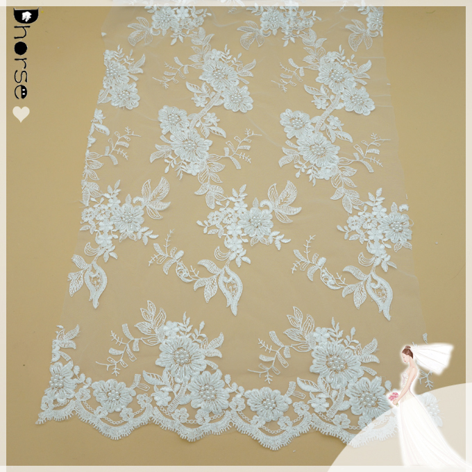 "1yard *52"" white flower embroidery wedding dress lace fabric Organza lace-DHBF754"