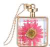 Creative Jewelry Squared Glass Bottle Pendant Chain Dried Flower Necklace