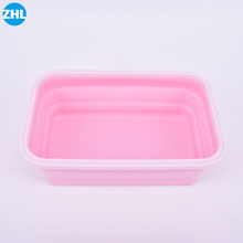 Hot Selling Foldable Microwaveable Silicone Lunch Box For Food Storage Container