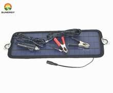 18V 4.5W protable solar car battery charger bundle with cigarette lighter ,battery charging alligator